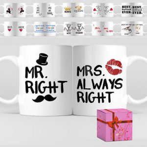 99ba384305b 1 Pair Valentines Day Wedding Couple Funny Personalized Gift Coffee Mug Tea  Cup
