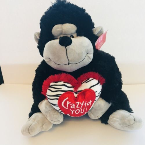 14-Stuffed-Animal-Plush-Gorilla-CRAZY-FOR-YOU-Heart-Doll-Toy-Valentine-Day-NWT-0