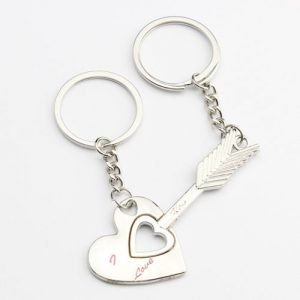 18181a2b45 2pcs Lover Heart&Arrow Key Ring Couples Keychain Romantic Valentine's Day  Gift