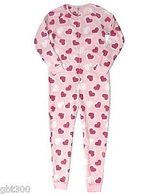 Adult Plush HEARTS Fleece Pajamas S-XL One Piece Union Suit Valentines Day  Gift a7b569a65