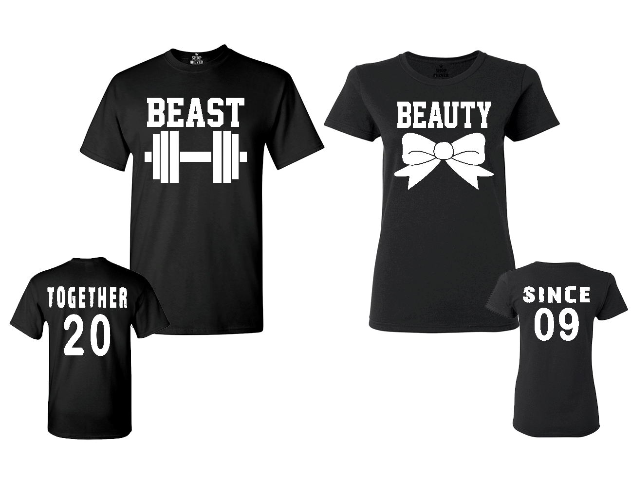 782ec5c3 BEAST – BEAUTY Couples T-Shirts Together Since 2009 Matching Valentines Day  Gift