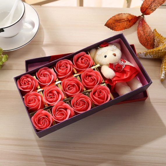 NEW-12pcs-Soap-Flower-teddy-bear-with-Gift-Box-Petals-Valentines-Day-Wedding-0