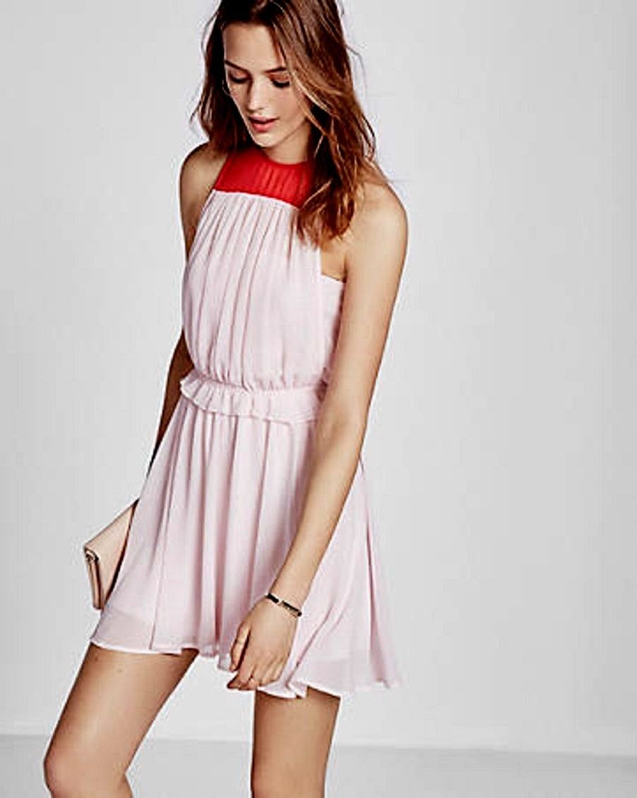 b3695184a3 New EXPRESS  80 Color Block Sleeveless Dress Pink   Red VALENTINES DAY  Large L