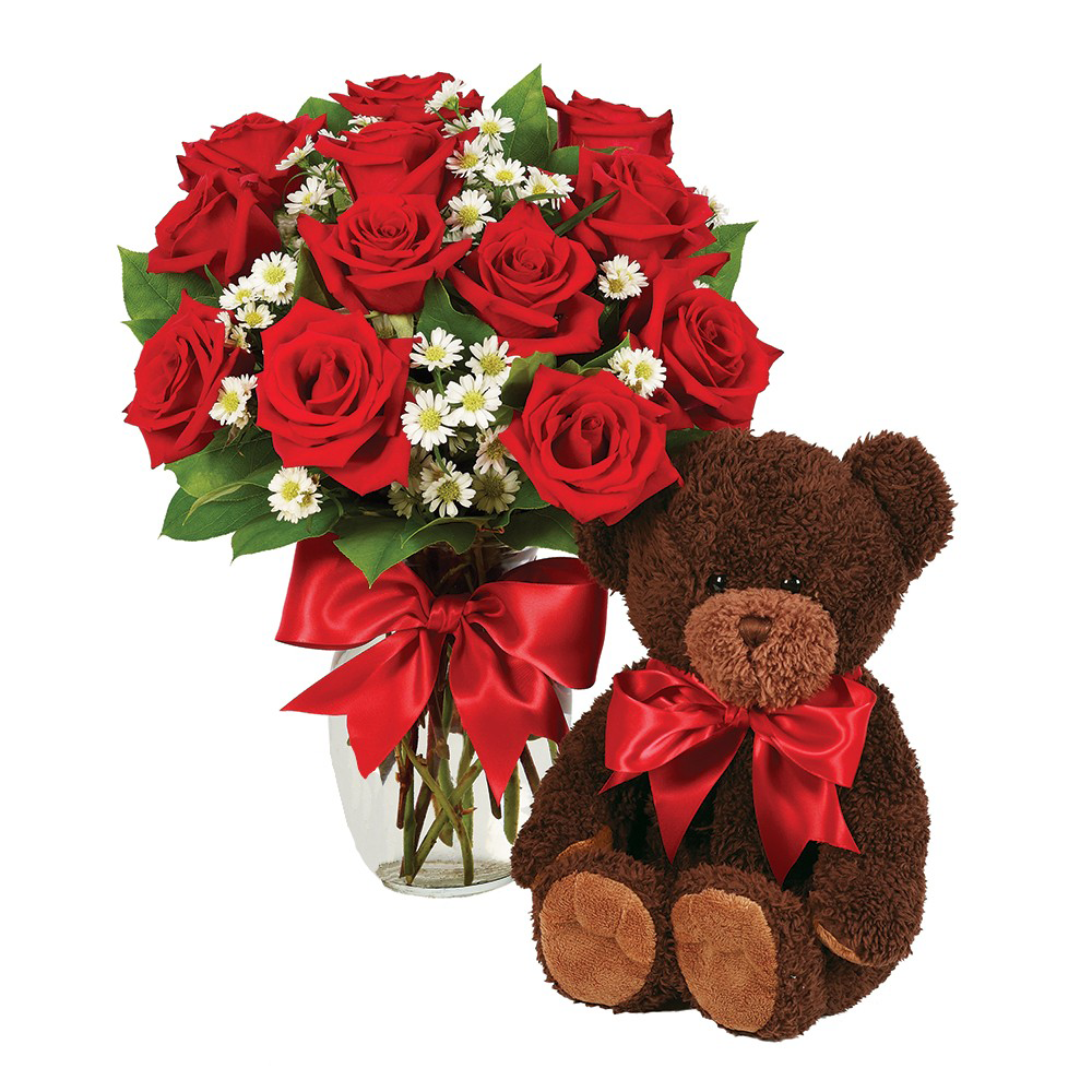 Red-roses-with-teddy-bear
