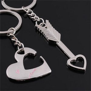 1 Pair Couple Cute Cat Keychain for Lovers Alloy Fashion Jewelry Ring Car FLA