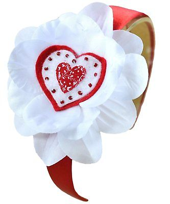 Valentine headband Valentine baby headband Red Heart Flower Valentine Headband Red white Valentine day Headband Red and White Valentine