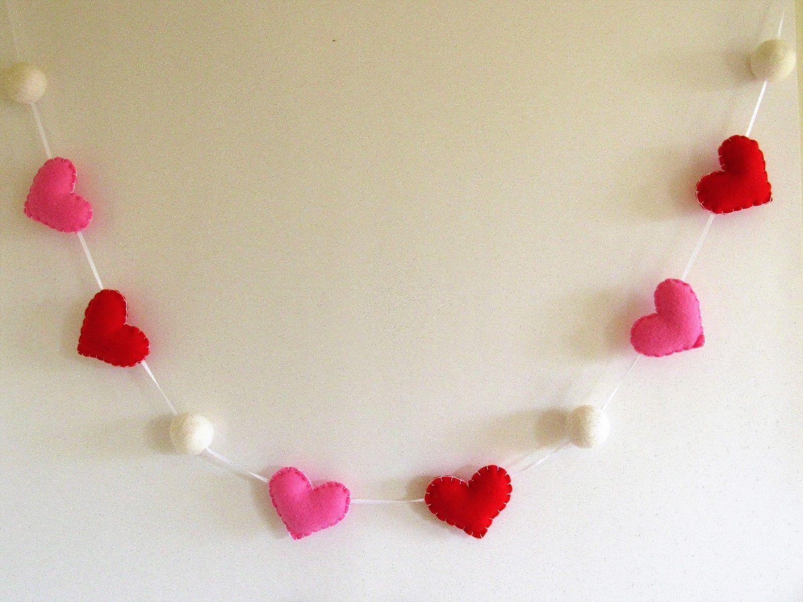 Pink and Purple Garland Valentine/'s Day Felt Ball Garland Felt Heart Garland